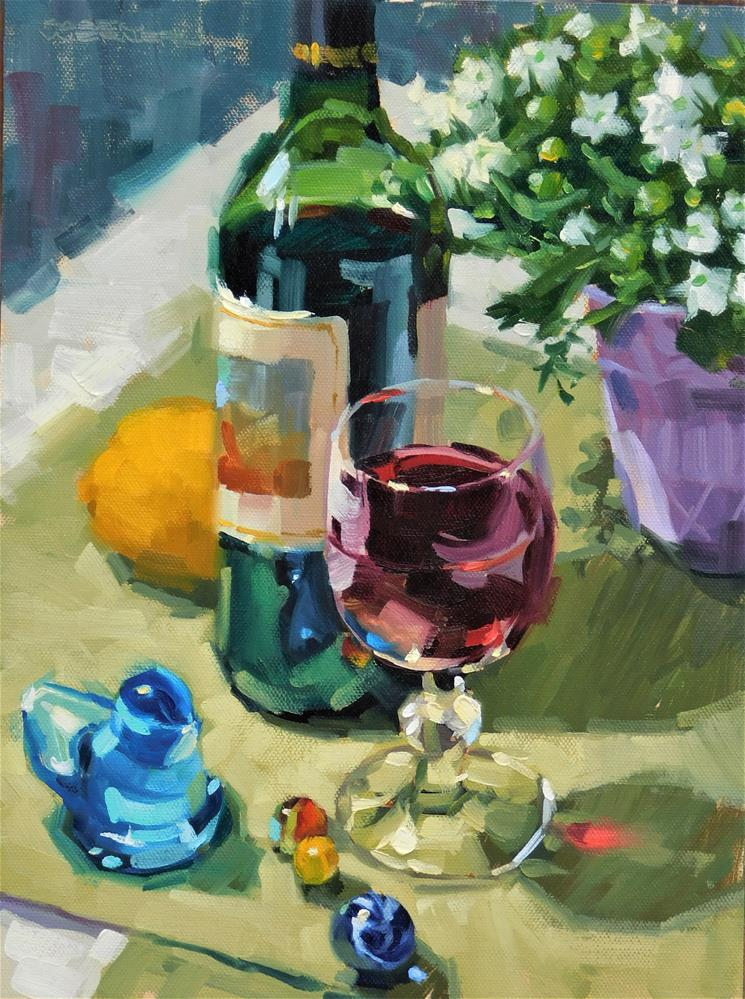 """Bottle & Glass"" original fine art by Karen Werner"