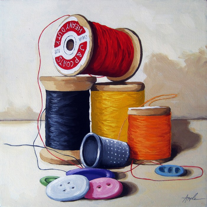 """""""Sewing Time realistic still life oil painting"""" original fine art by Linda Apple"""