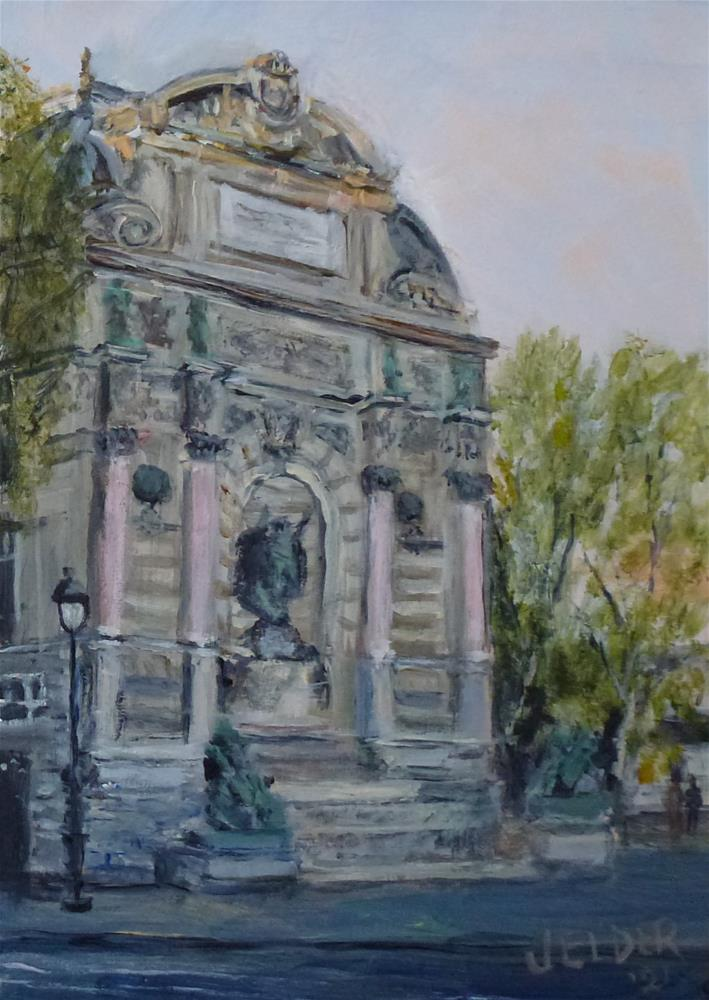 """Paris No. 129, Pace Saint-Michel"" original fine art by Judith Elder"