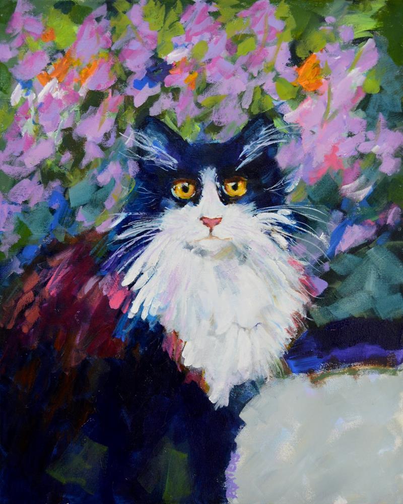 """""""Tuxedo in My Garden"""" original fine art by Pamela Gatens"""