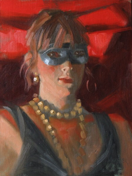 """The Masquerader 9x12 oil"" original fine art by Claudia Hammer"