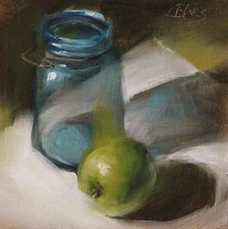 """Greens and Blues on White"" original fine art by Pamela Blaies"