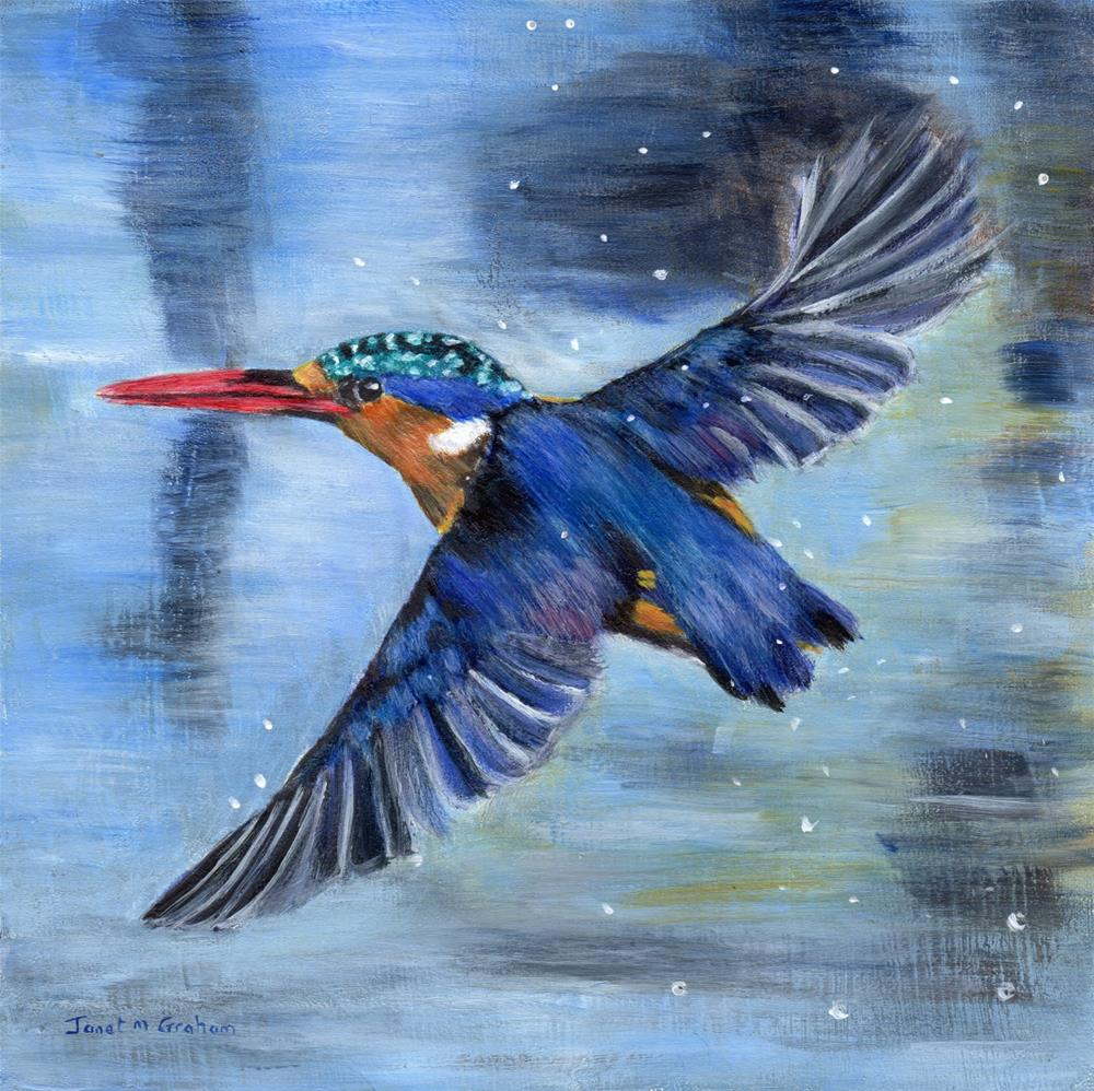 """Malachite Kingfisher"" original fine art by Janet Graham"