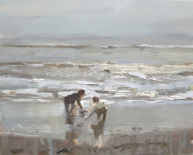 """""""Seascape winter #35 Children playing at the shoreline calm grey day"""" original fine art by Roos Schuring"""