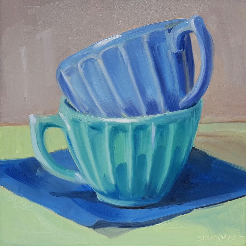 """Aqua and Blue stacked cups."" original fine art by Jacqueline Davis"