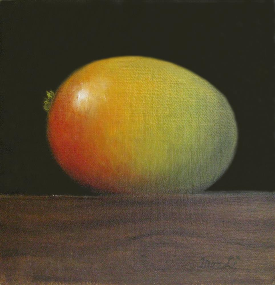 """Mango On Wood Block III"" original fine art by MeeLi Lee"