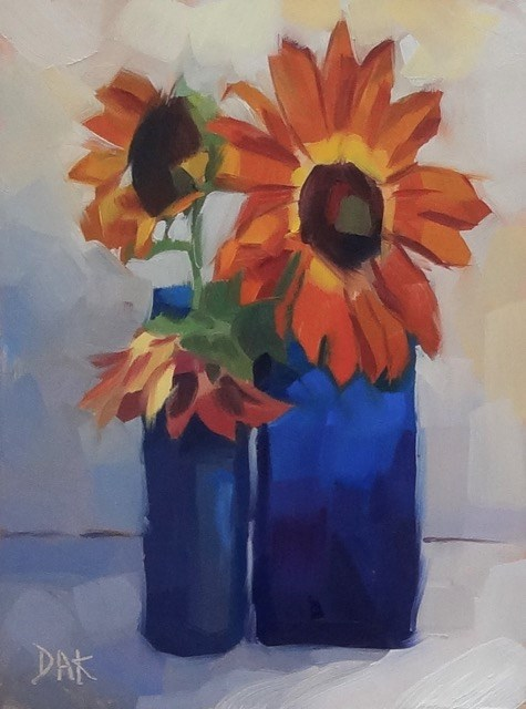 """Heirloom Sunflowers"" original fine art by Deborah Ann Kirkeeide"