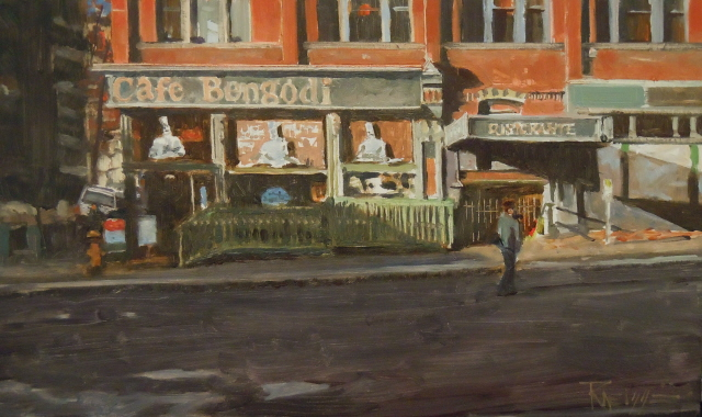 """""""Cafe Bengodi Seattle city oil painting by Robin Weiss"""" original fine art by Robin Weiss"""