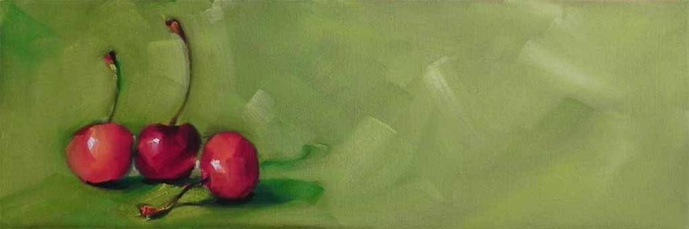 """""""Three Cherries"""" original fine art by Cheryl Wilson"""