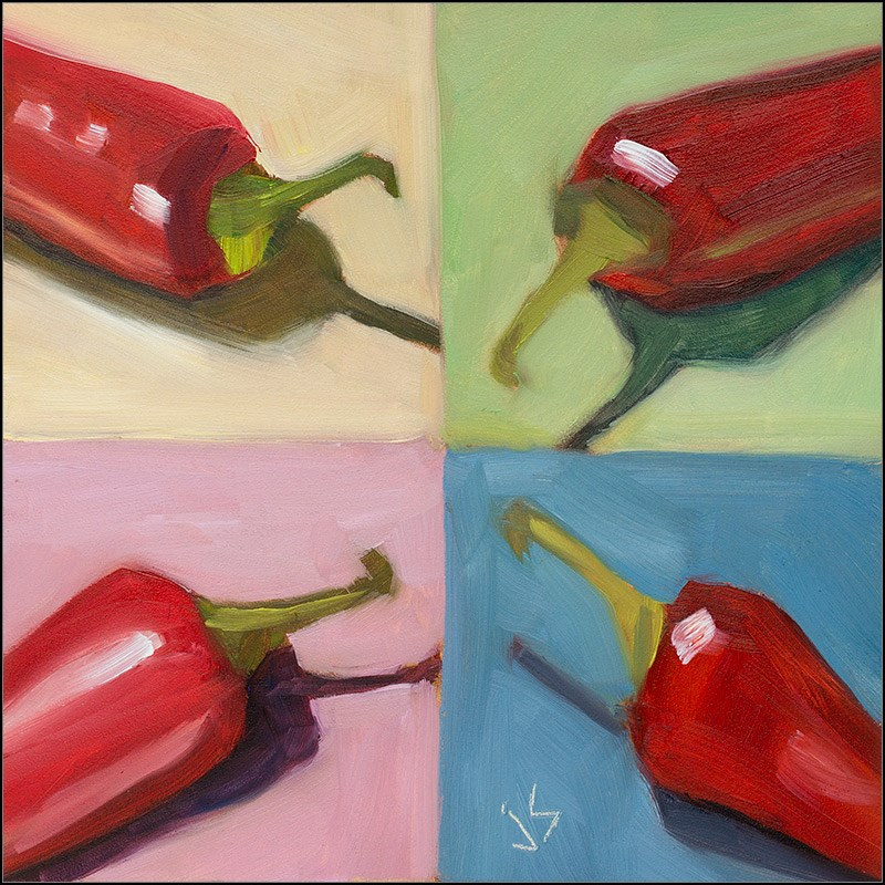 """Hot Chilies and Crazy Colors - Again"" original fine art by Johnna Schelling"