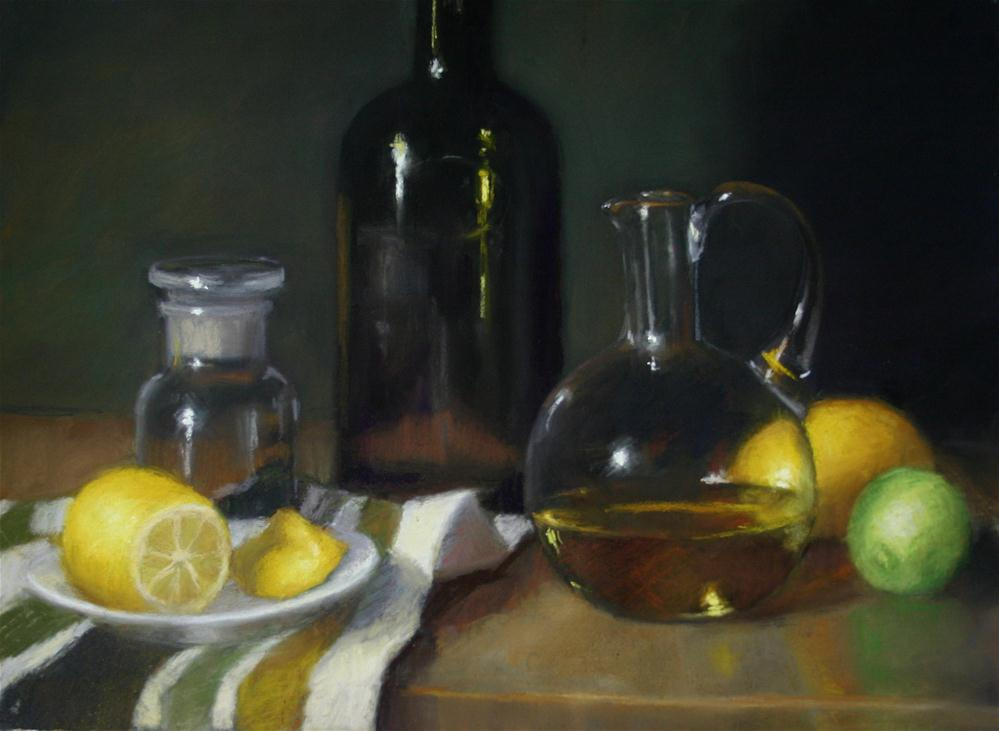 """Olive oil and accompaniments"" original fine art by Liz Balkwill"