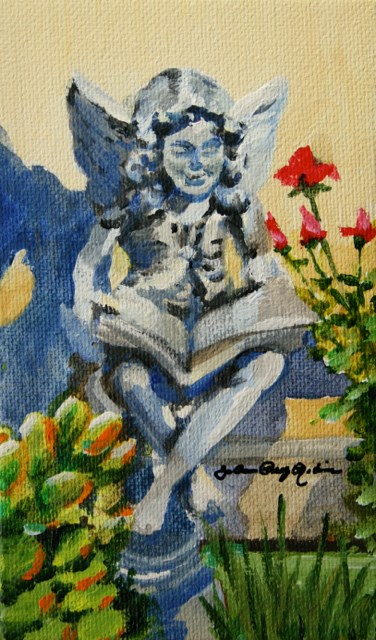 """Garden Fairy and Her Good Book"" original fine art by JoAnne Perez Robinson"
