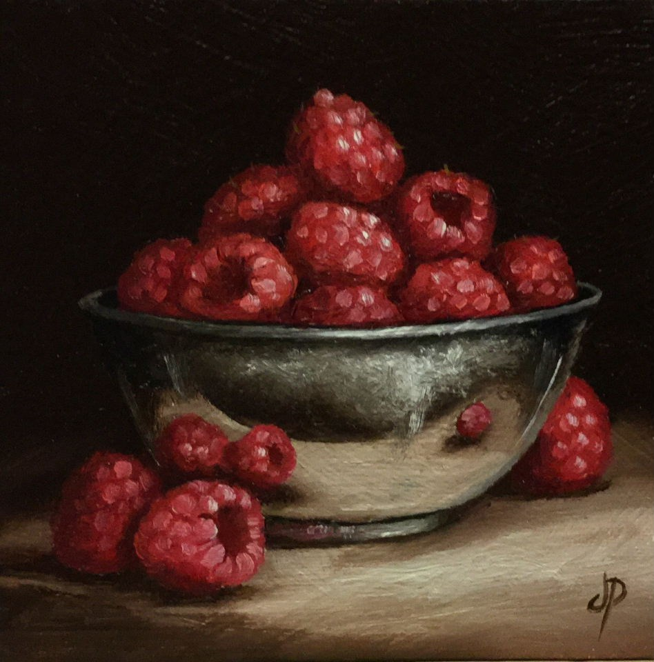 """Raspberry bowl"" original fine art by Jane Palmer"
