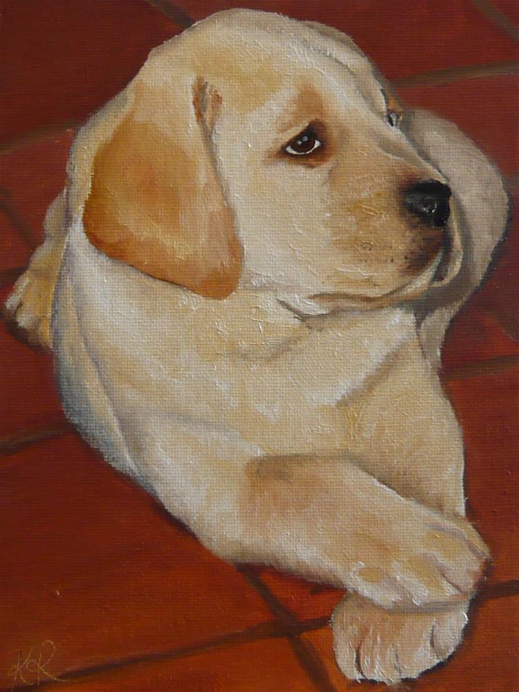 """Labrador puppy"" original fine art by Karen Robinson"