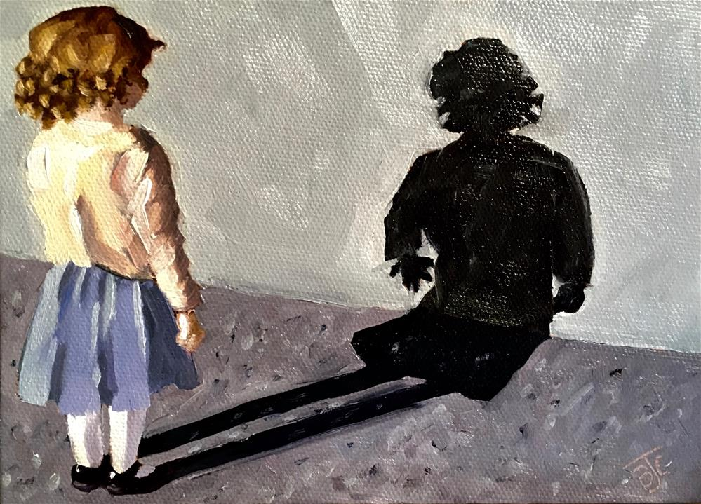 """""""Checking Out Her Shadow"""" original fine art by Bobbie Cook"""