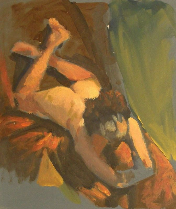 """Female nude sketch"" original fine art by Peter Orrock"