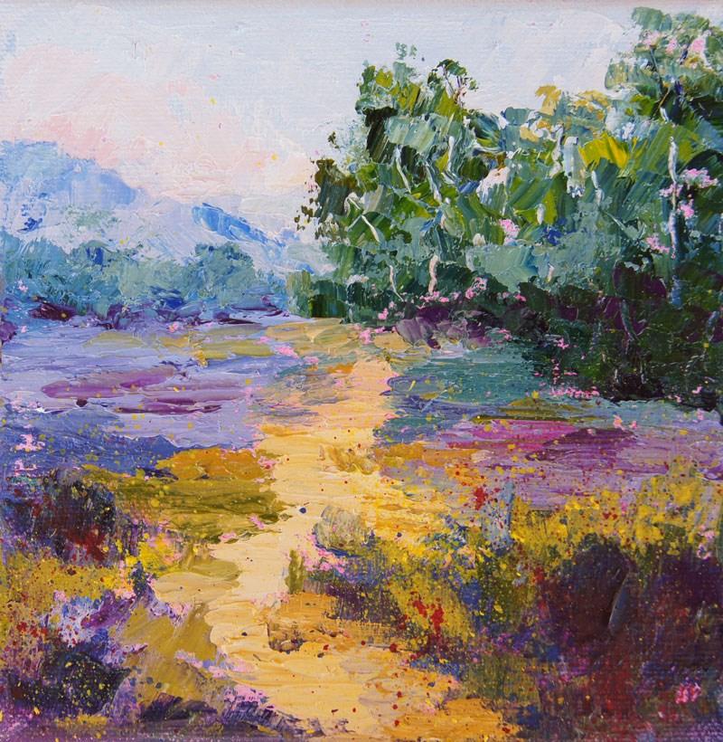 """Golden Path, Provence landscape painting"" original fine art by Marion Hedger"