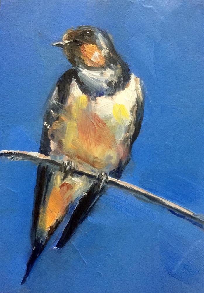 """Barn Swallow, Blue Sky"" original fine art by Gary Bruton"