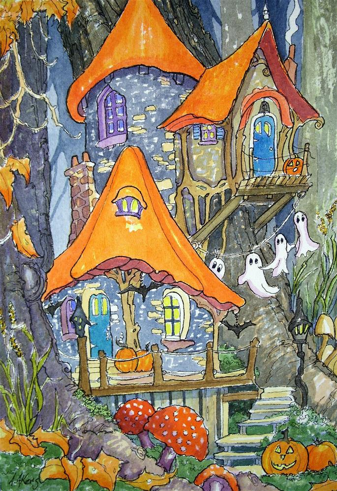 """Halloween Decorating Storybook Cottage Series"" original fine art by Alida Akers"
