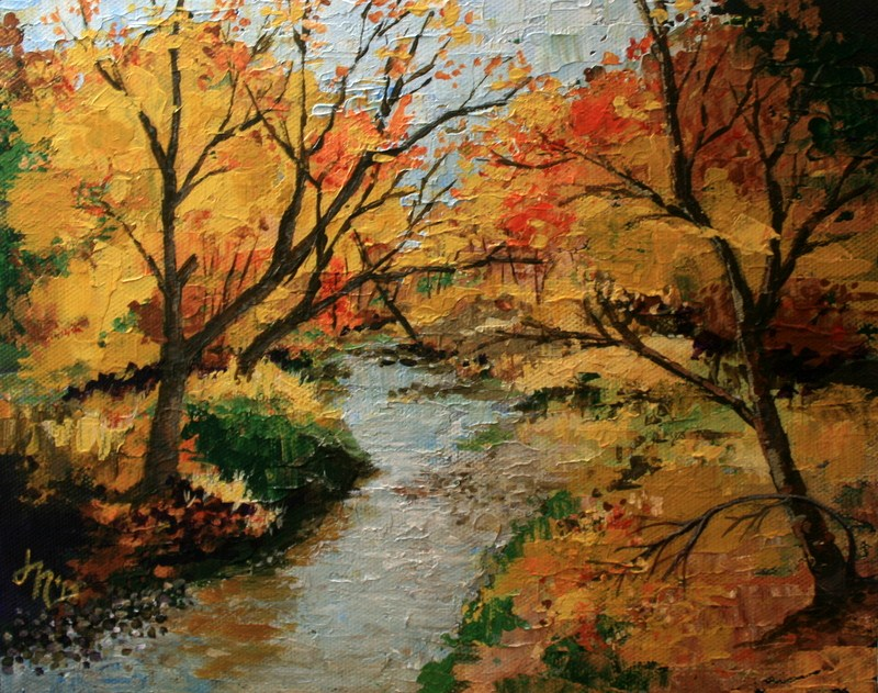 """River in the Autumn Woods"" original fine art by Jean Nelson"