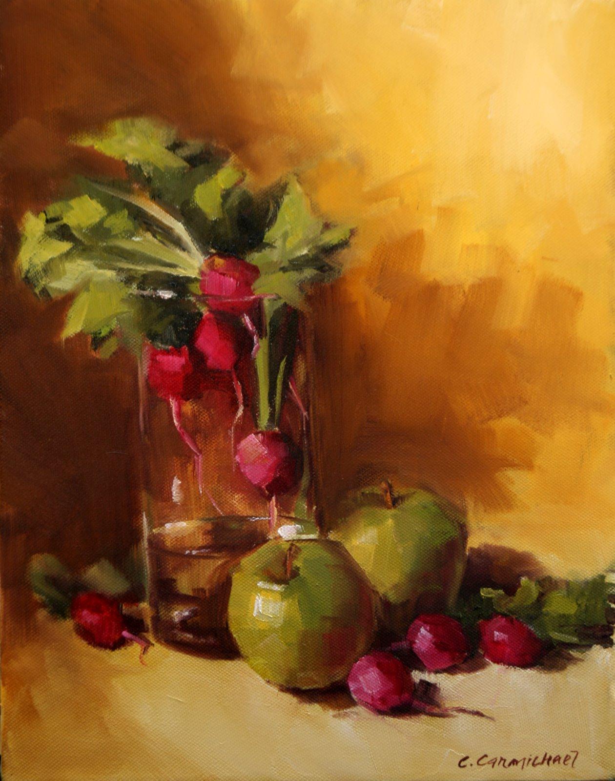 """Radishes and Apples"" original fine art by Carol Carmichael"