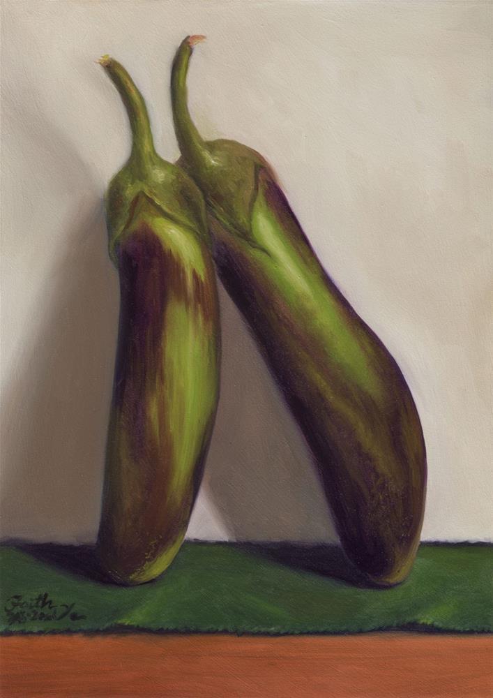 """Two Eggplants"" original fine art by Faith Te"
