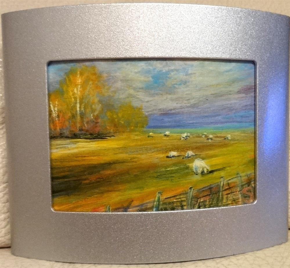 """4022 - Framed - SHEEP IN PASTURE ACEO - Curved Brushed Aluminum Frame"" original fine art by Sea Dean"
