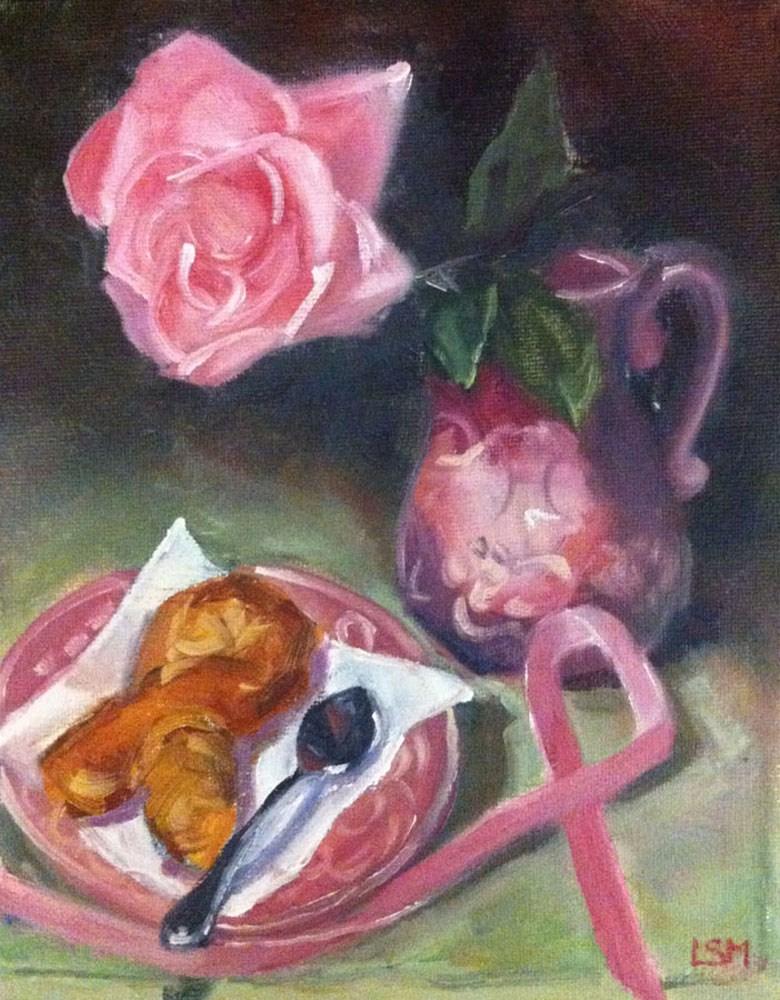"""Pink Ribbon and Bagel"" original fine art by Linda Marino"
