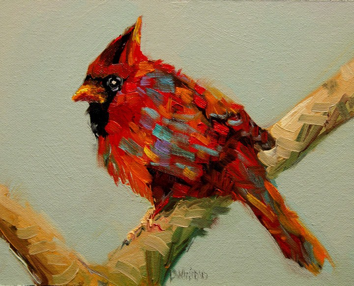 """ARTOUTWEST DIANE WHITEHEAD Cardinal Bird Animal Art Oil Painting Original"" original fine art by Diane Whitehead"