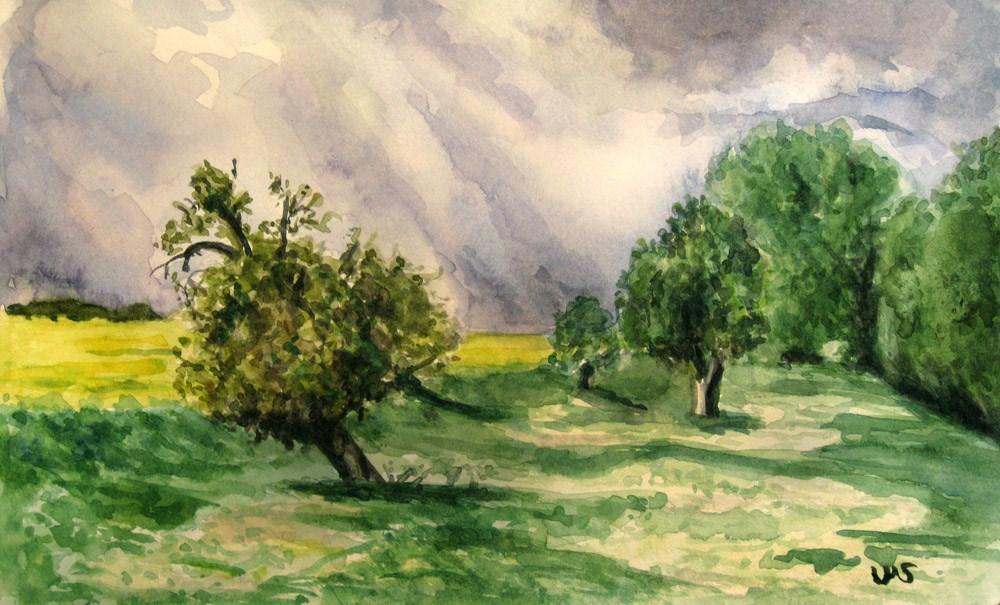 """Spring Meadow 1"" original fine art by Ulrike Miesen-Schuermann"