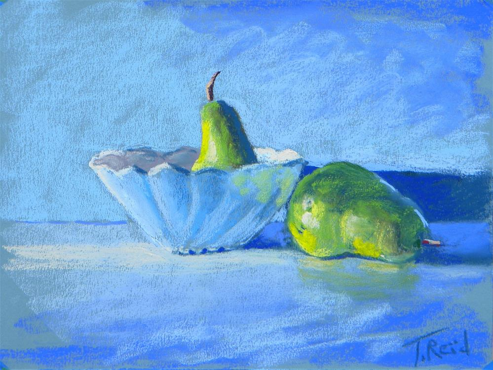 """Two pears and a bowl"" original fine art by Toby Reid"
