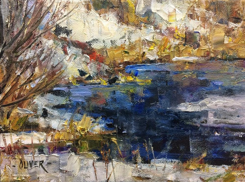 """""""Snow, Water and Crows #1  -  Day 28"""" original fine art by Julie Ford Oliver"""