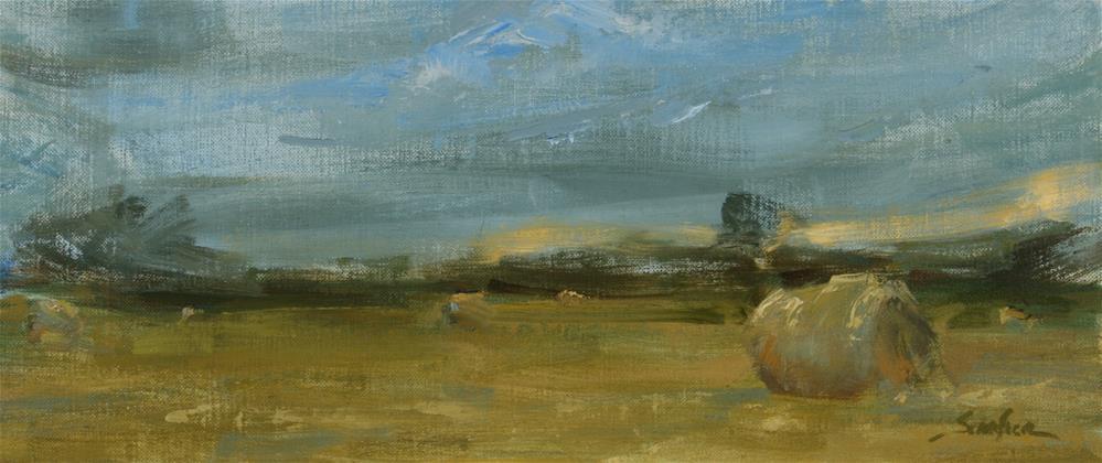 """""""Morning Hay Bales"""" original fine art by Scott Serafica"""
