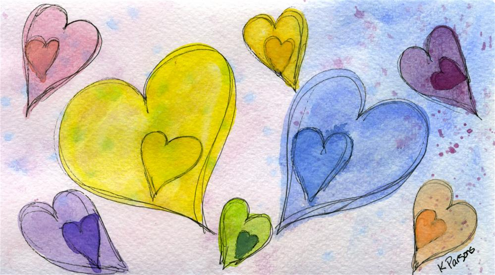 """A Rainbow of Hearts"" original fine art by Kali Parsons"