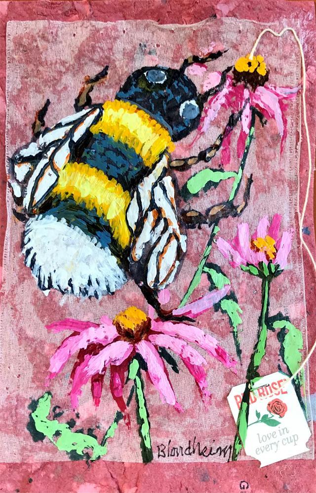 """Bee and Flowers"" original fine art by Linda Blondheim"