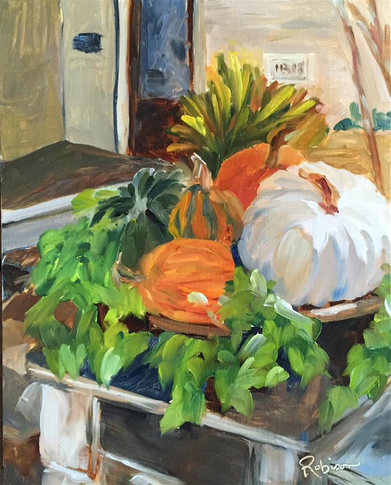 """Planter Full of Pumpkins"" original fine art by Renee Robison"