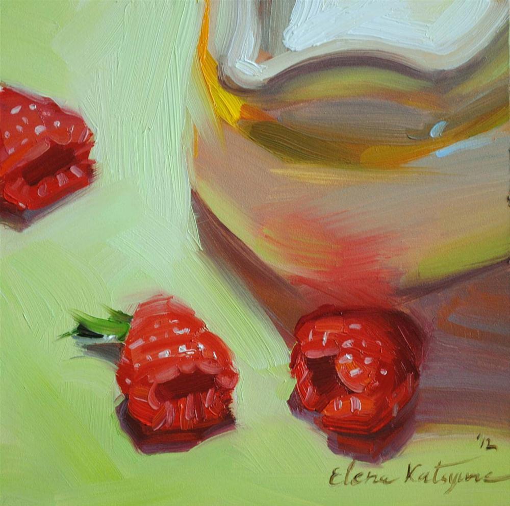 """Milk and Raspberries"" original fine art by Elena Katsyura"
