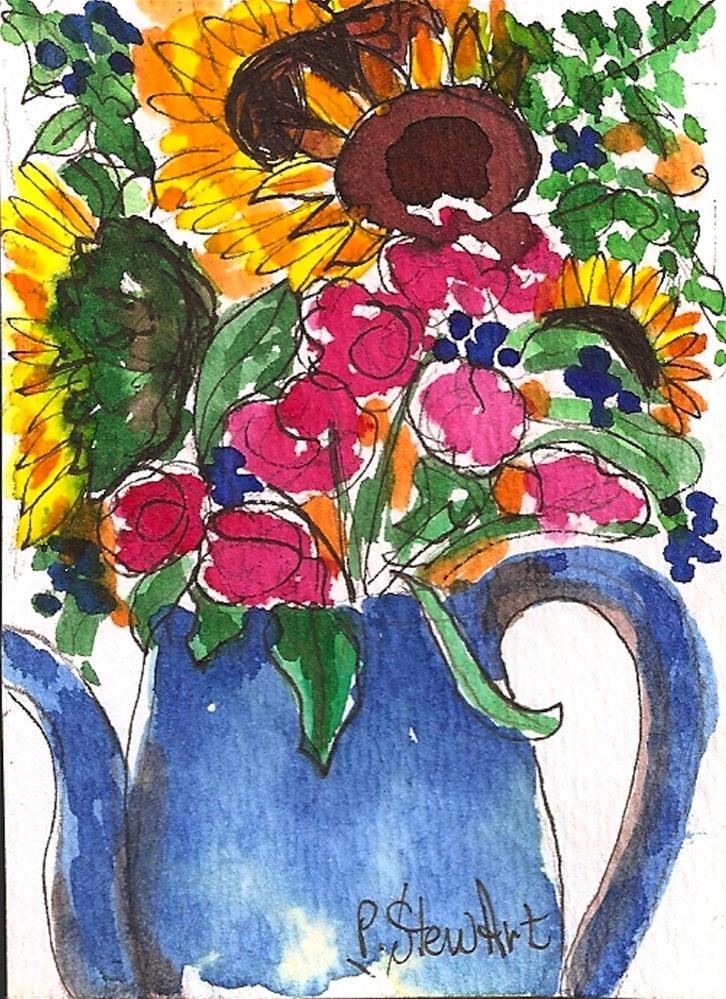 """ACEO A Folk Art Sunflower Bouquet in a Blue vase, Watercolor, Original Art"" original fine art by Penny Lee StewArt"