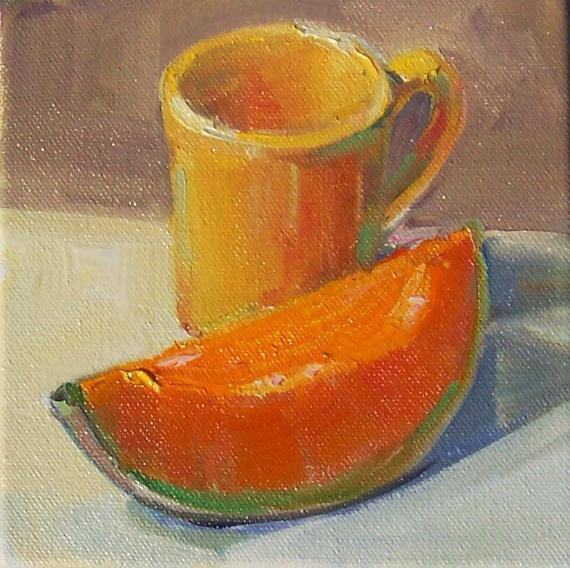 """Melon with Cup,still life,oil on canvas,6x6,price$200"" original fine art by Joy Olney"