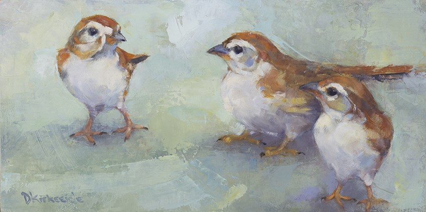 """Three Amigos - Wild Bird Painting by Deb Kirkeeide"" original fine art by Deb Kirkeeide"