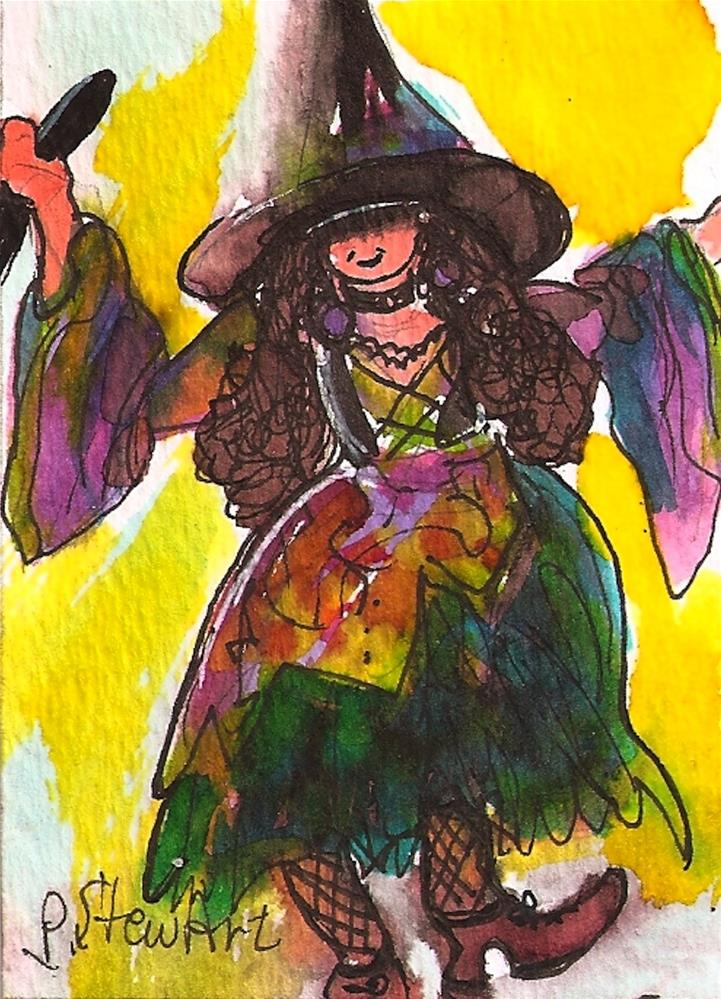 """ACEO: Halloween A Little Girl in a colorful Witch Costume and a big hat-Original"" original fine art by Penny Lee StewArt"