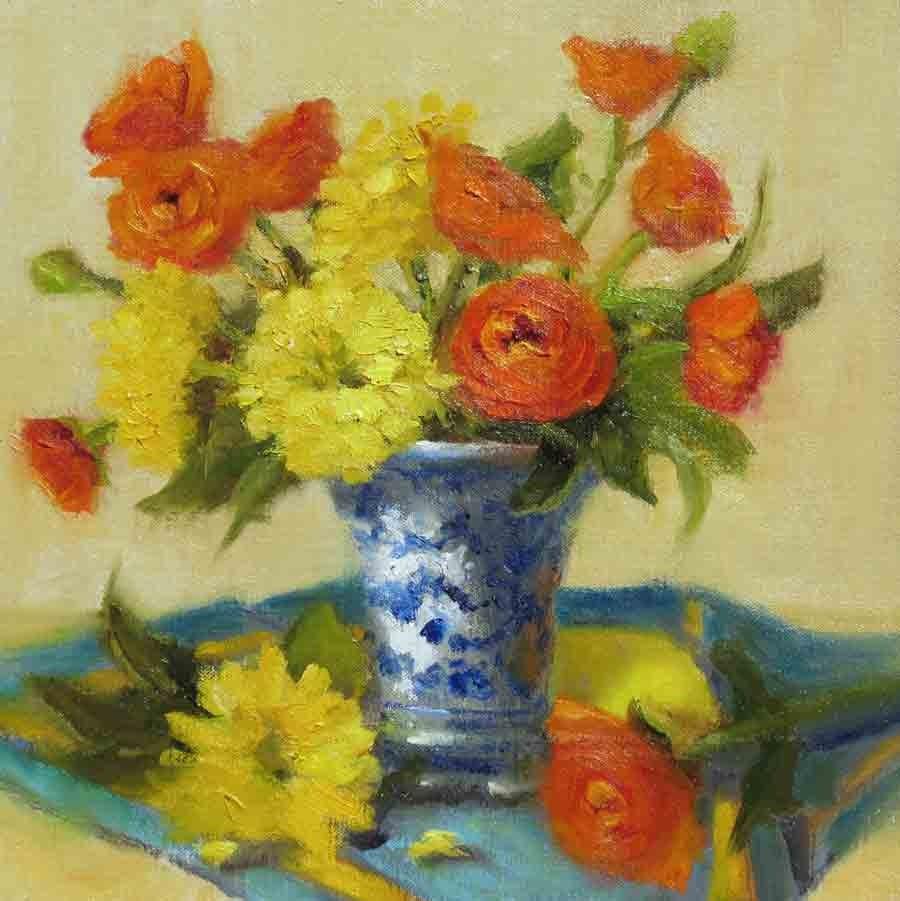 """""""Orange, Yellow, Blue"""" original fine art by Pat Fiorello"""