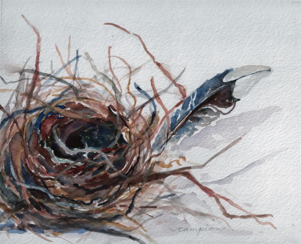 """377 Empty Nest With Feather"" original fine art by Diane Campion"