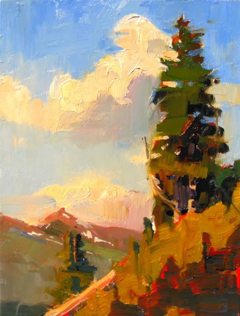 """Alpine Spruce from Artists Point, plein air , landscape painting by Robin Weiss"" original fine art by Robin Weiss"