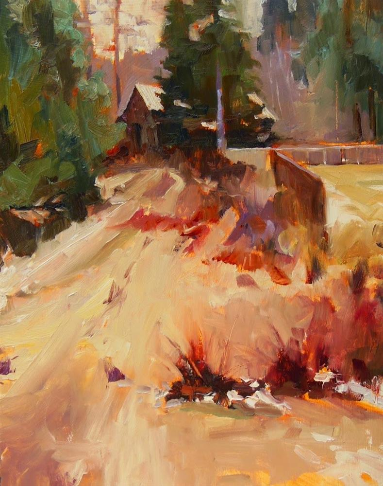 """""""Barn by the River plein air, landscape painting by Robin Weiss"""" original fine art by Robin Weiss"""
