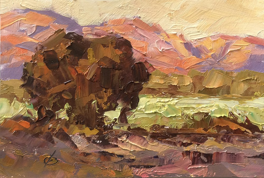 """GOLDEN SKIES"" original fine art by Tom Brown"