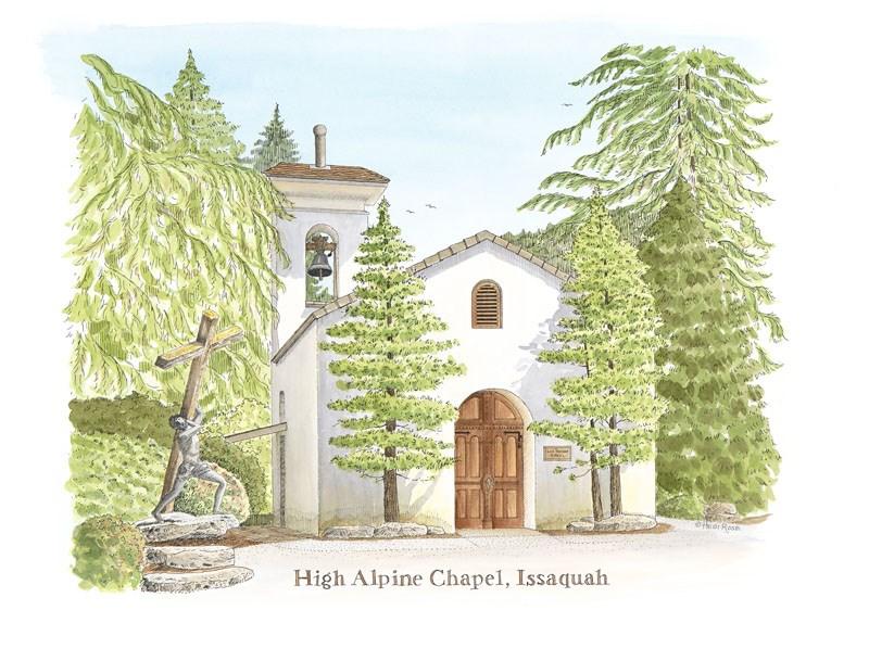 """High Alpine Chapel"" original fine art by Heidi Rose"