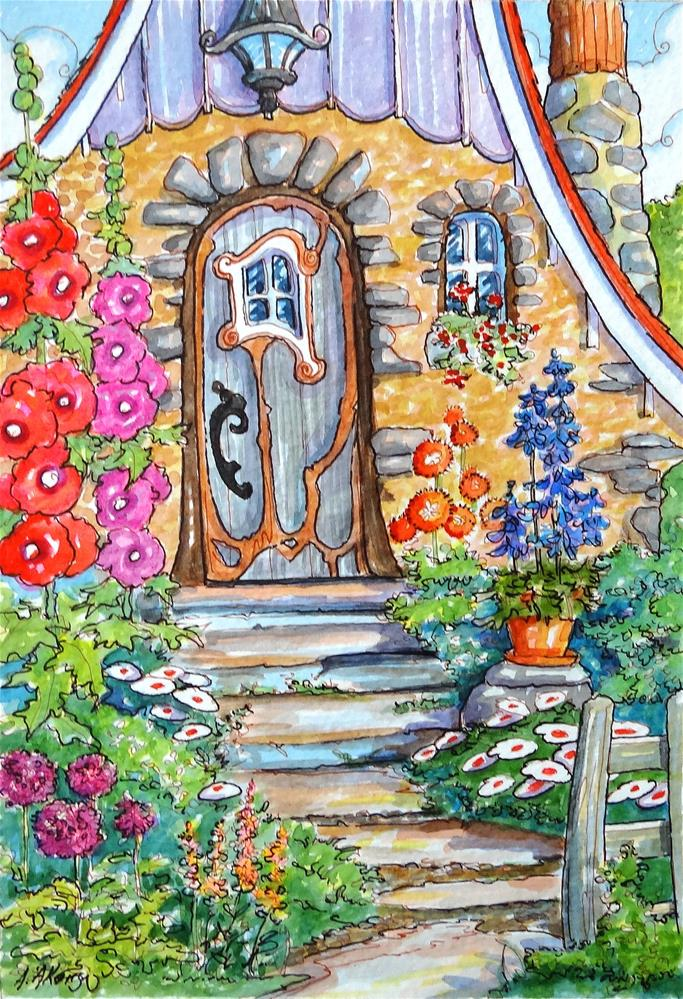 """Welcome to My Door Storybook Cottage Series"" original fine art by Alida Akers"