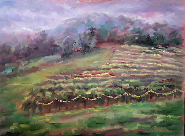 """Twinkle Lights in the Vineyard"" original fine art by Tammie Dickerson"