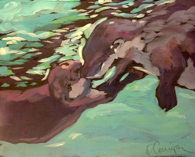"""Otterly Affections"" original fine art by Kat Corrigan"